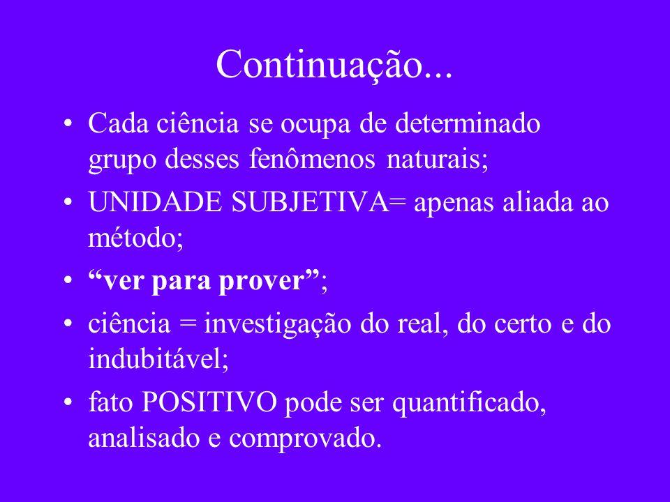 Continuação... Cada ciência se ocupa de determinado grupo desses fenômenos naturais; UNIDADE SUBJETIVA= apenas aliada ao método; ver para prover; ciên