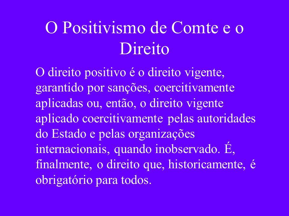 O Positivismo de Comte e o Direito O direito positivo é o direito vigente, garantido por sanções, coercitivamente aplicadas ou, então, o direito vigen