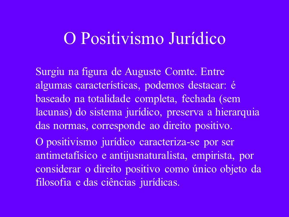 O Positivismo Jurídico Surgiu na figura de Auguste Comte. Entre algumas características, podemos destacar: é baseado na totalidade completa, fechada (