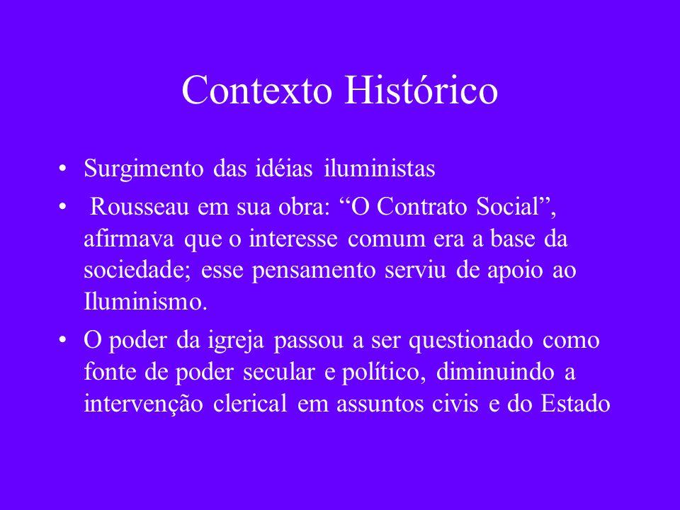 Contexto Histórico Surgimento das idéias iluministas Rousseau em sua obra: O Contrato Social, afirmava que o interesse comum era a base da sociedade;