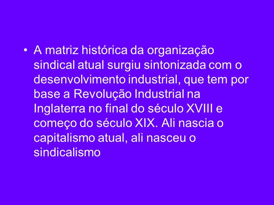 A matriz histórica da organização sindical atual surgiu sintonizada com o desenvolvimento industrial, que tem por base a Revolução Industrial na Ingla