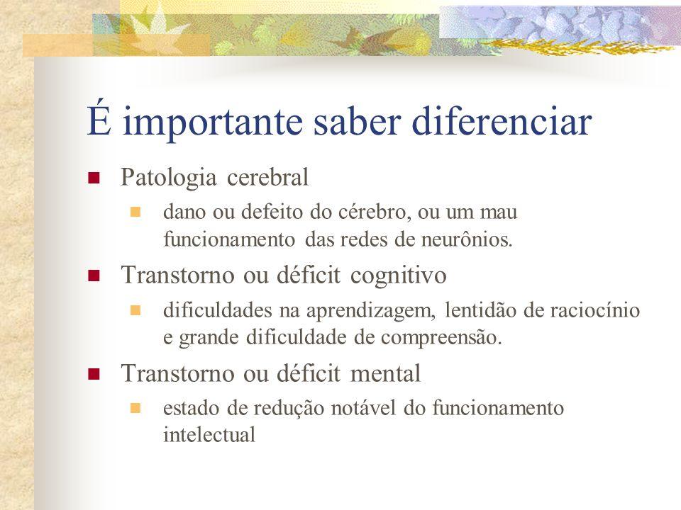 É importante saber diferenciar Patologia cerebral dano ou defeito do cérebro, ou um mau funcionamento das redes de neurônios. Transtorno ou déficit co