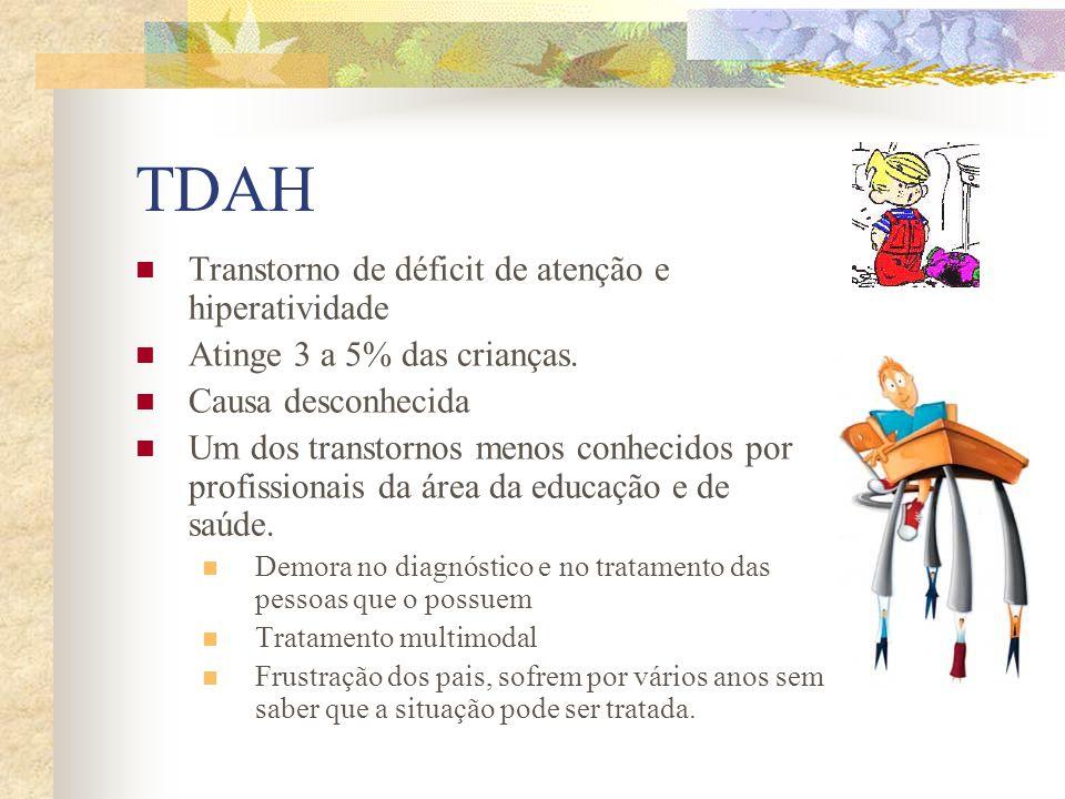 TDAH Transtorno de déficit de atenção e hiperatividade Atinge 3 a 5% das crianças. Causa desconhecida Um dos transtornos menos conhecidos por profissi