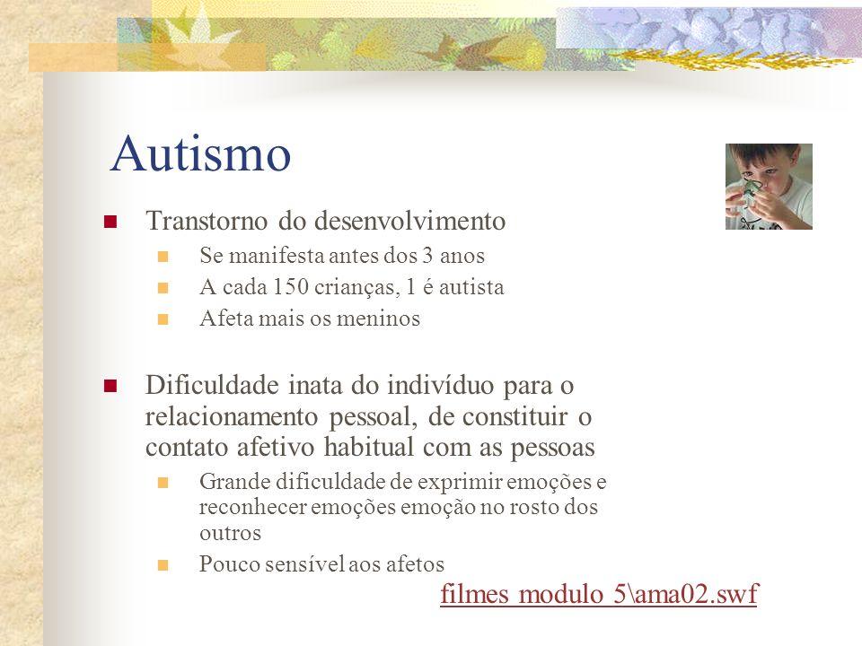 Autismo Transtorno do desenvolvimento Se manifesta antes dos 3 anos A cada 150 crianças, 1 é autista Afeta mais os meninos Dificuldade inata do indiví