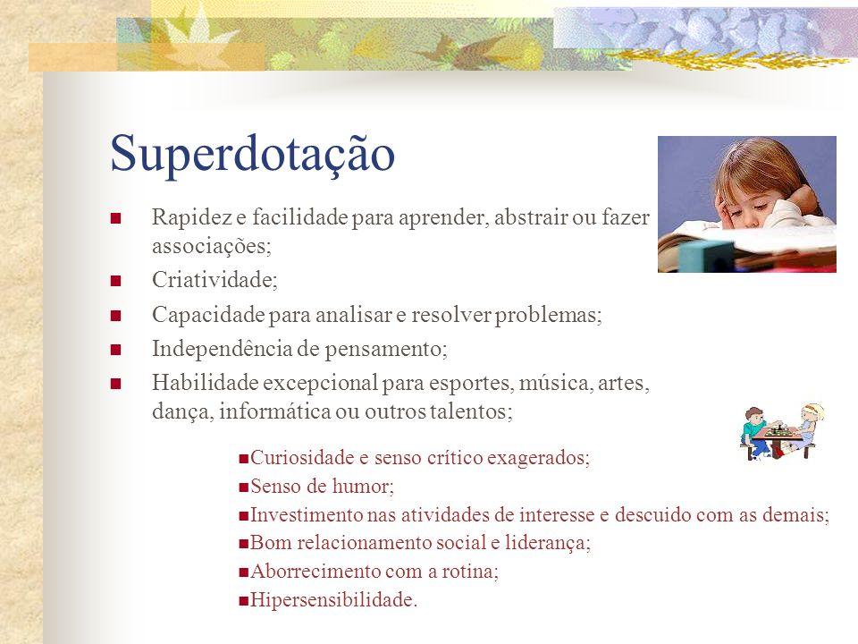 Superdotação Rapidez e facilidade para aprender, abstrair ou fazer associações; Criatividade; Capacidade para analisar e resolver problemas; Independê