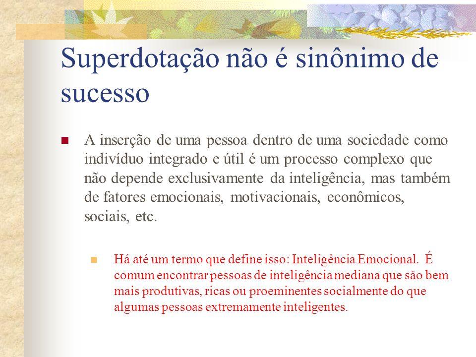 Superdotação não é sinônimo de sucesso A inserção de uma pessoa dentro de uma sociedade como indivíduo integrado e útil é um processo complexo que não