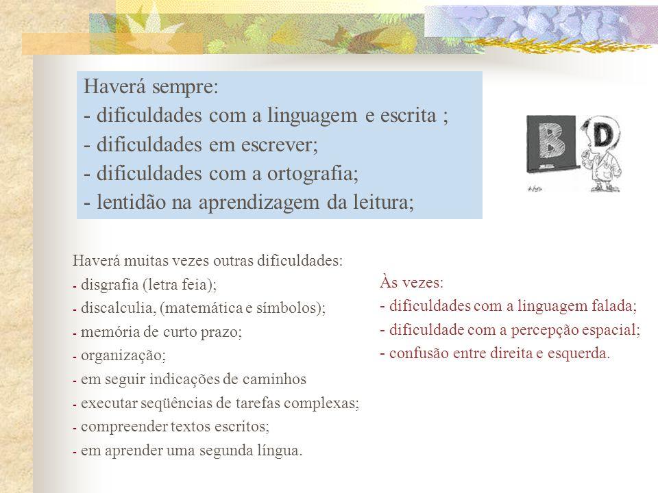 Às vezes: - dificuldades com a linguagem falada; - dificuldade com a percepção espacial; - confusão entre direita e esquerda. Haverá sempre: - dificul