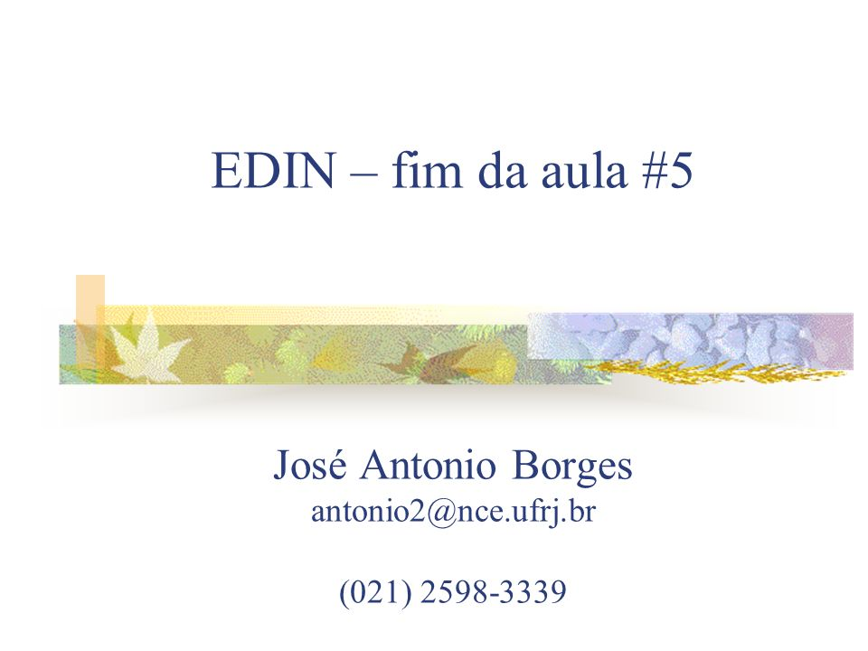 EDIN – fim da aula #5 José Antonio Borges antonio2@nce.ufrj.br (021) 2598-3339