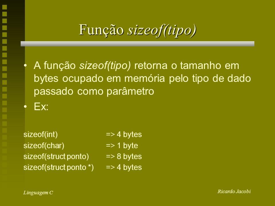 Ricardo Jacobi Linguagem C Função sizeof(tipo) A função sizeof(tipo) retorna o tamanho em bytes ocupado em memória pelo tipo de dado passado como parâmetro Ex: sizeof(int) => 4 bytes sizeof(char) => 1 byte sizeof(struct ponto) => 8 bytes sizeof(struct ponto *) => 4 bytes