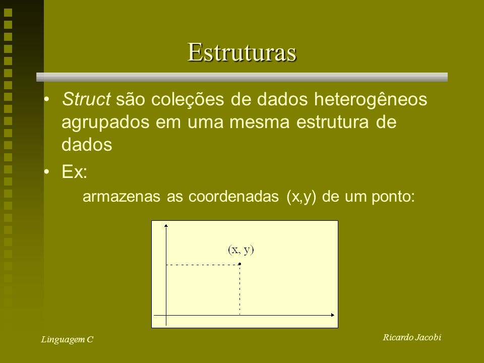 Ricardo Jacobi Linguagem C Estruturas Struct são coleções de dados heterogêneos agrupados em uma mesma estrutura de dados Ex: armazenas as coordenadas (x,y) de um ponto: