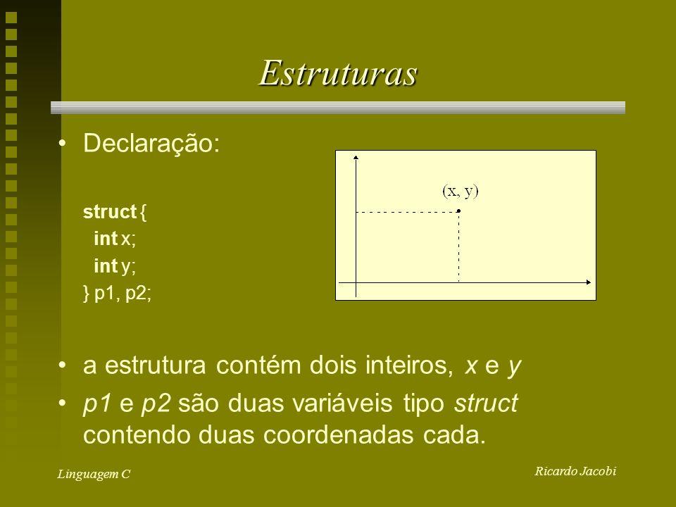 Ricardo Jacobi Linguagem C Estruturas Declaração: struct { int x; int y; } p1, p2; a estrutura contém dois inteiros, x e y p1 e p2 são duas variáveis tipo struct contendo duas coordenadas cada.