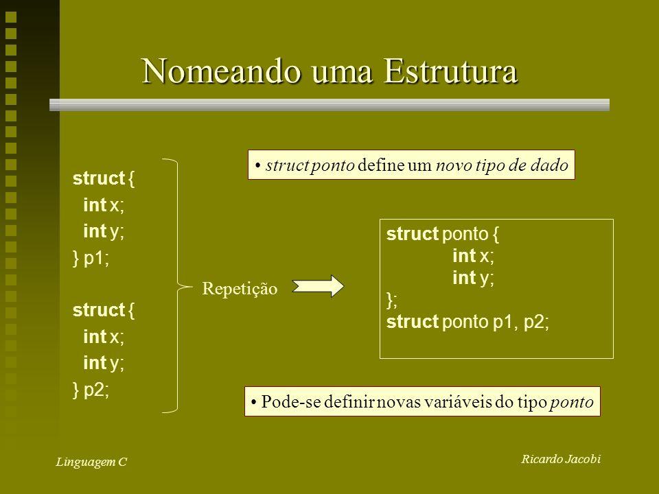 Ricardo Jacobi Linguagem C Estruturas acesso aos dados: struct-var.campo Ex: p1.x = 10;/*atribuição */ p2.y = 15; if (p1.x >= p2.x) && (p1.y >= p2.y)...