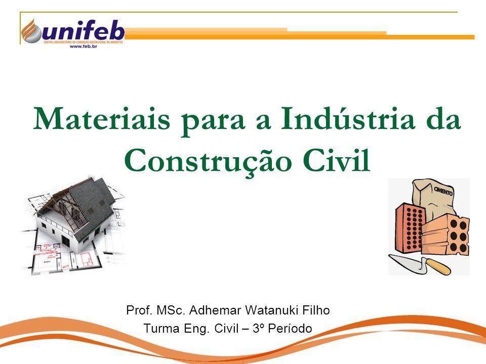 Materiais para a Indústria da Construção Civil Prof. MSc. Adhemar Watanuki Filho Turma Eng. Civil – 3º Período