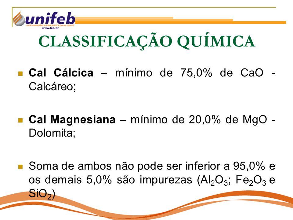 CLASSIFICAÇÃO QUÍMICA Cal Cálcica – mínimo de 75,0% de CaO - Calcáreo; Cal Magnesiana – mínimo de 20,0% de MgO - Dolomita; Soma de ambos não pode ser