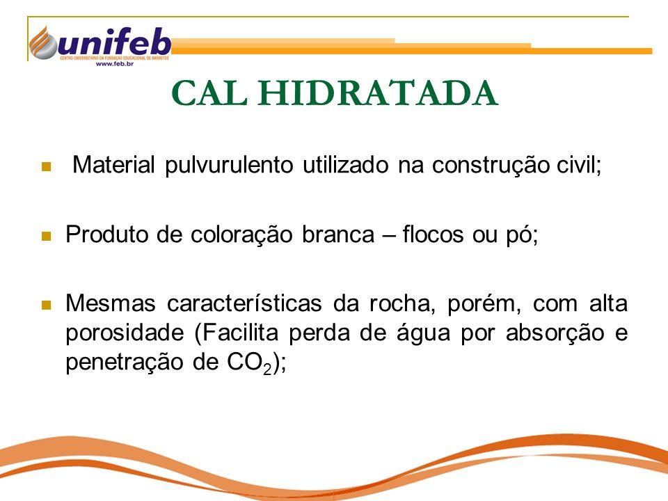 CAL HIDRATADA Material pulvurulento utilizado na construção civil; Produto de coloração branca – flocos ou pó; Mesmas características da rocha, porém,