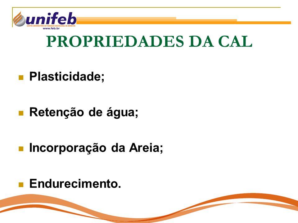 PROPRIEDADES DA CAL Plasticidade; Retenção de água; Incorporação da Areia; Endurecimento.