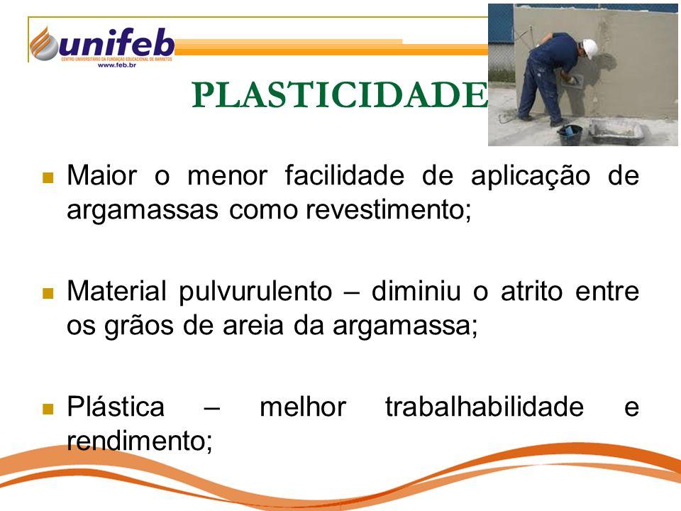PLASTICIDADE Maior o menor facilidade de aplicação de argamassas como revestimento; Material pulvurulento – diminiu o atrito entre os grãos de areia d