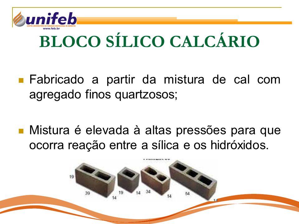 BLOCO SÍLICO CALCÁRIO Fabricado a partir da mistura de cal com agregado finos quartzosos; Mistura é elevada à altas pressões para que ocorra reação en