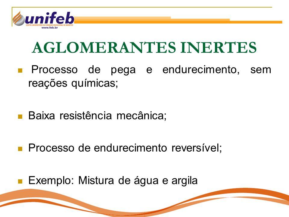 AGLOMERANTES INERTES Processo de pega e endurecimento, sem reações químicas; Baixa resistência mecânica; Processo de endurecimento reversível; Exemplo