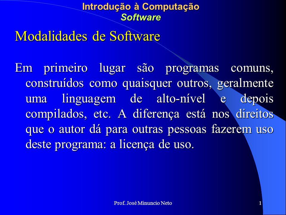 1 Introdução à Computação Software Modalidades de Software Em primeiro lugar são programas comuns, construídos como quaisquer outros, geralmente uma linguagem de alto-nível e depois compilados, etc.