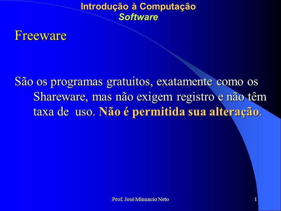 Prof.José Minuncio Neto 1 Introdução à Computação Software Beta Versões ainda em desenvolvimento.