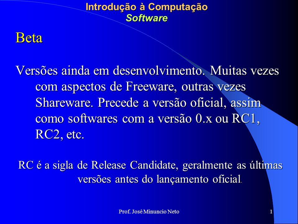 Prof. José Minuncio Neto 1 Introdução à Computação Software Beta Versões ainda em desenvolvimento.