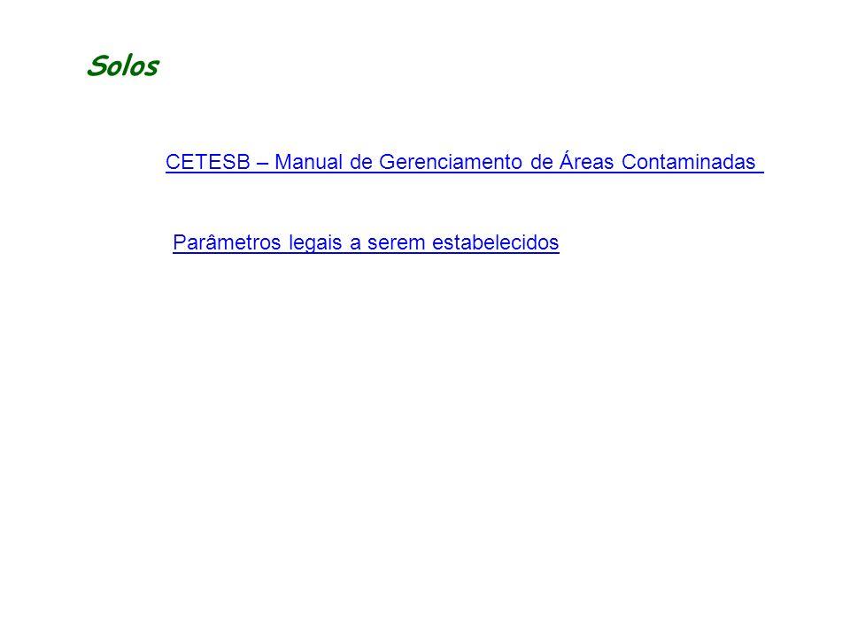 Solos CETESB – Manual de Gerenciamento de Áreas Contaminadas Parâmetros legais a serem estabelecidos