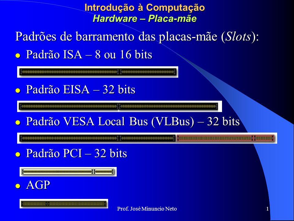 Prof. José Minuncio Neto 1 Introdução à Computação Hardware – Placa-mãe Padrões de barramento das placas-mãe (Slots): Padrão ISA – 8 ou 16 bits Padrão
