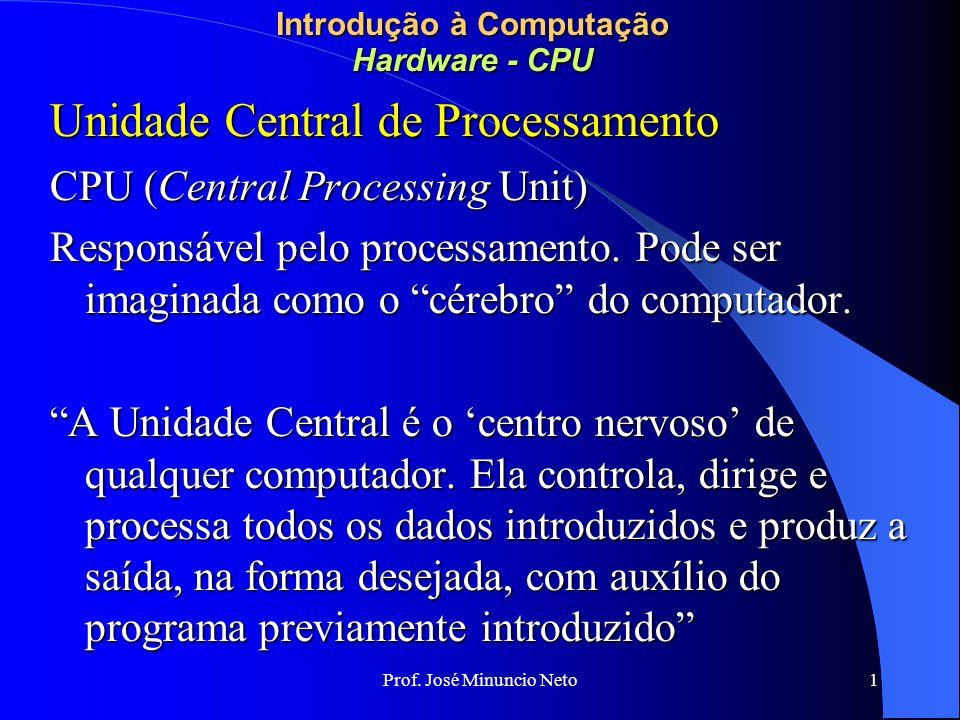 Prof. José Minuncio Neto 1 Introdução à Computação Hardware - CPU Unidade Central de Processamento CPU (Central Processing Unit) Responsável pelo proc