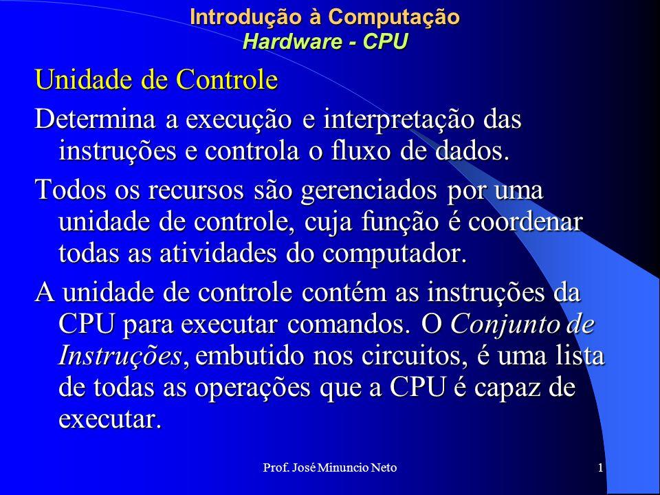 Prof. José Minuncio Neto 1 Introdução à Computação Hardware - CPU Unidade de Controle Determina a execução e interpretação das instruções e controla o