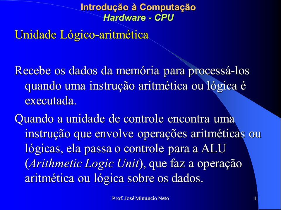 Prof. José Minuncio Neto 1 Introdução à Computação Hardware - CPU Unidade Lógico-aritmética Recebe os dados da memória para processá-los quando uma in