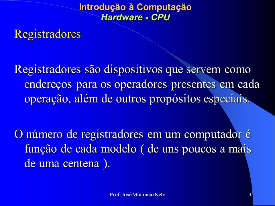 Prof. José Minuncio Neto 1 Introdução à Computação Hardware - CPU Registradores Registradores são dispositivos que servem como endereços para os opera