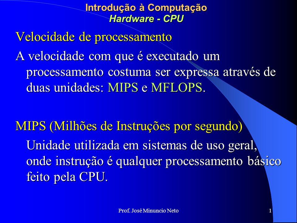 Prof. José Minuncio Neto 1 Introdução à Computação Hardware - CPU Velocidade de processamento A velocidade com que é executado um processamento costum