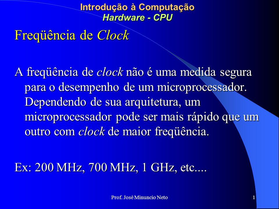 Prof. José Minuncio Neto 1 Introdução à Computação Hardware - CPU Freqüência de Clock A freqüência de clock não é uma medida segura para o desempenho