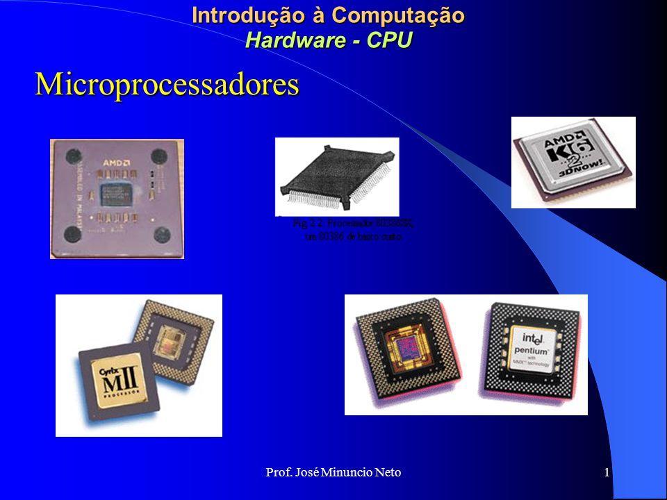 Prof. José Minuncio Neto 1 Introdução à Computação Hardware - CPU Microprocessadores