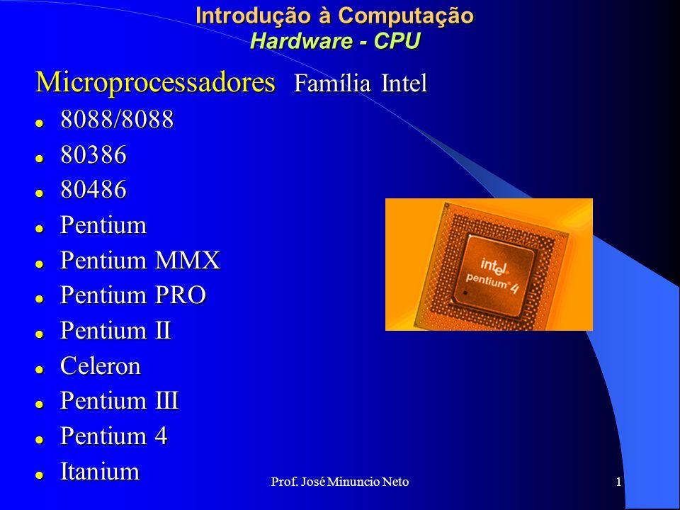 Prof. José Minuncio Neto 1 Introdução à Computação Hardware - CPU Microprocessadores Família Intel 8088/8088 8088/8088 80386 80386 80486 80486 Pentium