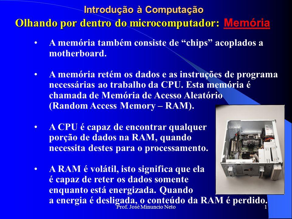 Prof. José Minuncio Neto 1 Introdução à Computação A memória também consiste de chips acoplados a motherboard. A memória retém os dados e as instruçõe