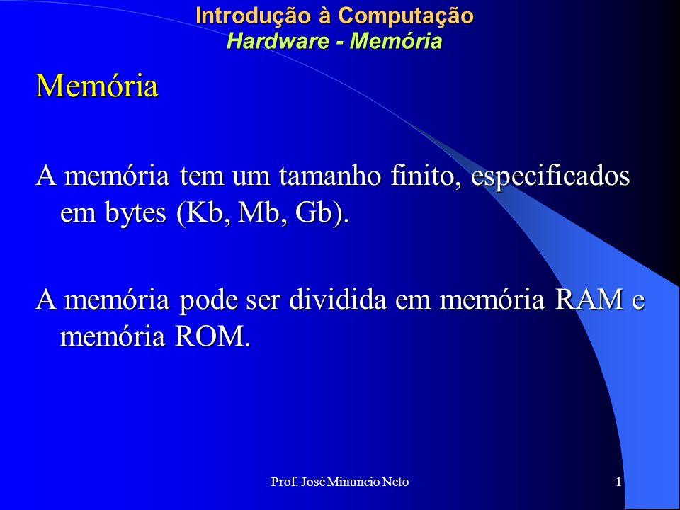 Prof. José Minuncio Neto 1 Introdução à Computação Hardware - Memória Memória A memória tem um tamanho finito, especificados em bytes (Kb, Mb, Gb). A