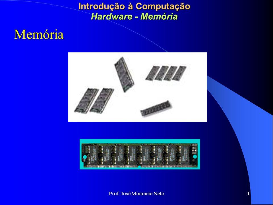 Prof. José Minuncio Neto 1 Introdução à Computação Hardware - Memória Memória