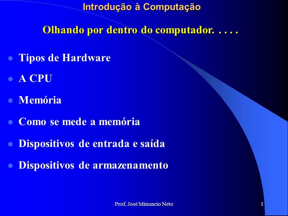 Prof. José Minuncio Neto 1 Introdução à Computação Tipos de Hardware A CPU Memória Como se mede a memória Dispositivos de entrada e saída Dispositivos