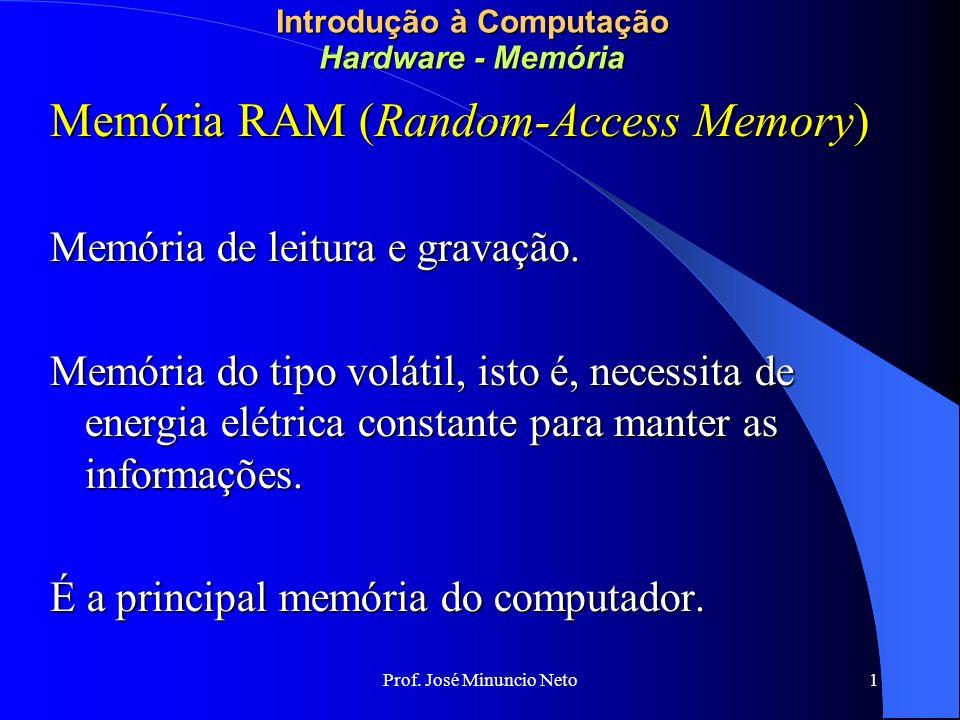 Prof. José Minuncio Neto 1 Introdução à Computação Hardware - Memória Memória RAM (Random-Access Memory) Memória de leitura e gravação. Memória do tip