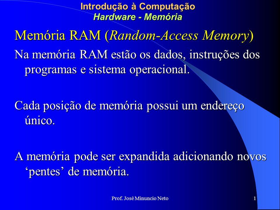 Prof. José Minuncio Neto 1 Introdução à Computação Hardware - Memória Memória RAM (Random-Access Memory) Na memória RAM estão os dados, instruções dos