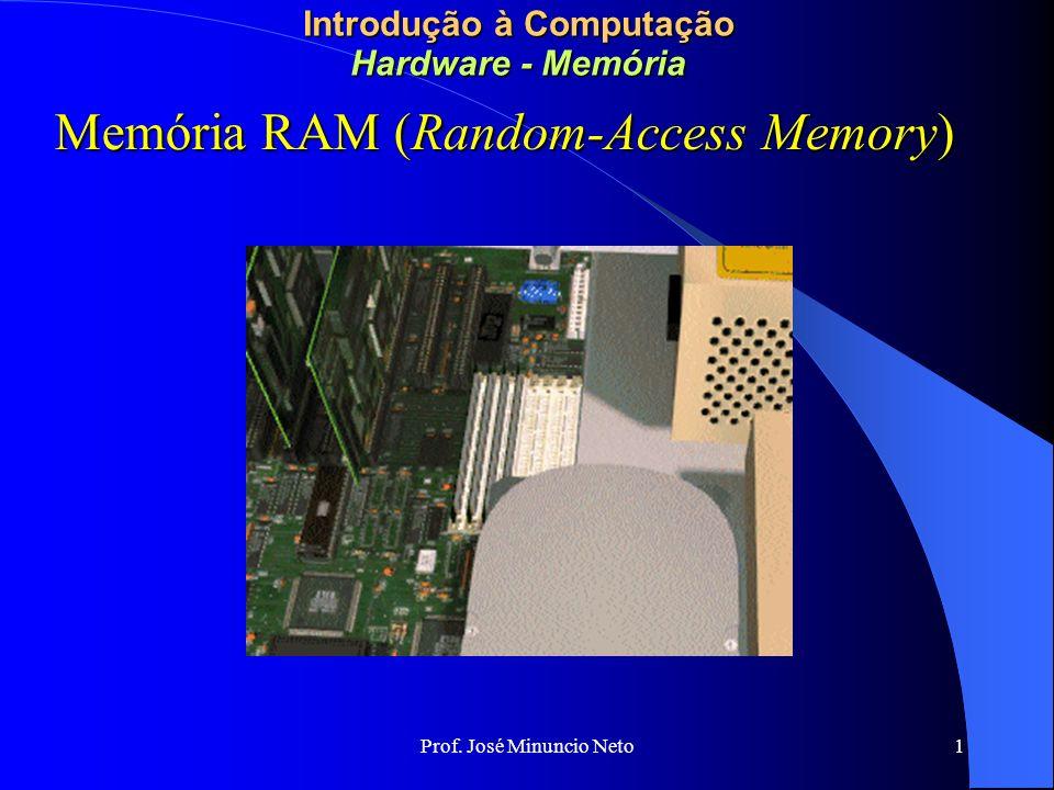 Prof. José Minuncio Neto 1 Introdução à Computação Hardware - Memória Memória RAM (Random-Access Memory)