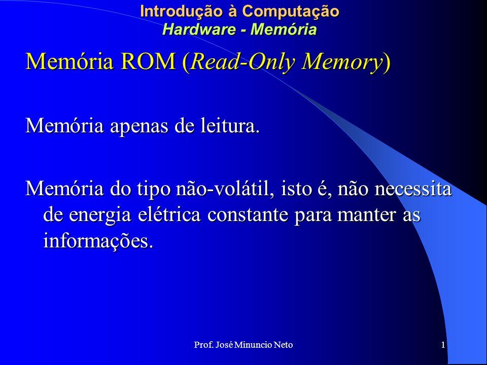 Prof. José Minuncio Neto 1 Introdução à Computação Hardware - Memória Memória ROM (Read-Only Memory) Memória apenas de leitura. Memória do tipo não-vo