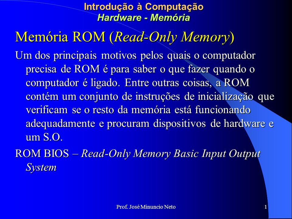 Prof. José Minuncio Neto 1 Introdução à Computação Hardware - Memória Memória ROM (Read-Only Memory) Um dos principais motivos pelos quais o computado