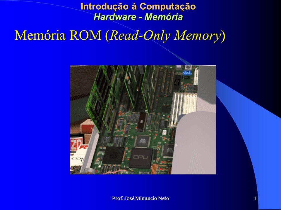 Prof. José Minuncio Neto 1 Introdução à Computação Hardware - Memória Memória ROM (Read-Only Memory)