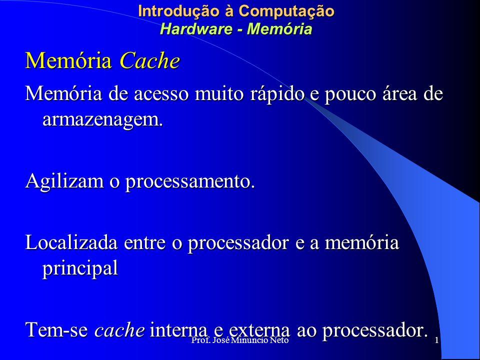 Prof. José Minuncio Neto 1 Introdução à Computação Hardware - Memória Memória Cache Memória de acesso muito rápido e pouco área de armazenagem. Agiliz