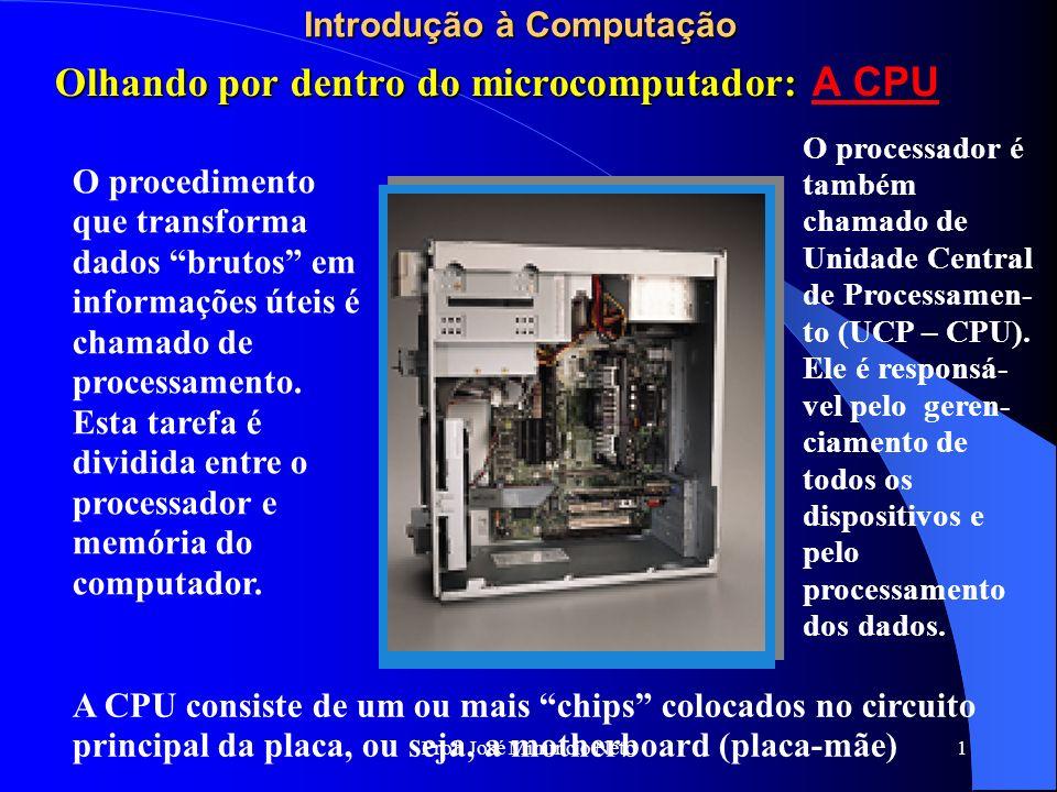 Prof. José Minuncio Neto 1 Introdução à Computação O procedimento que transforma dados brutos em informações úteis é chamado de processamento. Esta ta