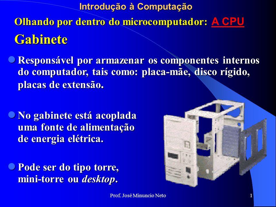 Prof. José Minuncio Neto 1 Introdução à Computação Gabinete Olhando por dentro do microcomputador: Olhando por dentro do microcomputador: A CPU Respon
