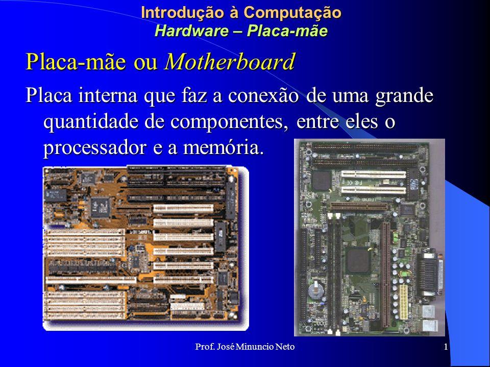 Prof. José Minuncio Neto 1 Introdução à Computação Hardware – Placa-mãe Placa-mãe ou Motherboard Placa interna que faz a conexão de uma grande quantid
